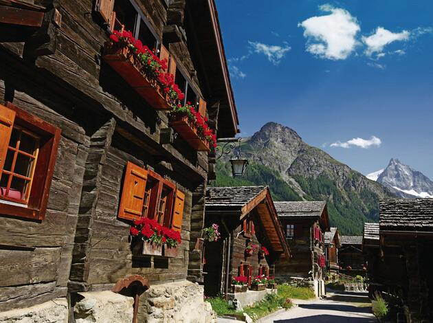 Swiss Mountain Village and Charming Old Chalets in Summer