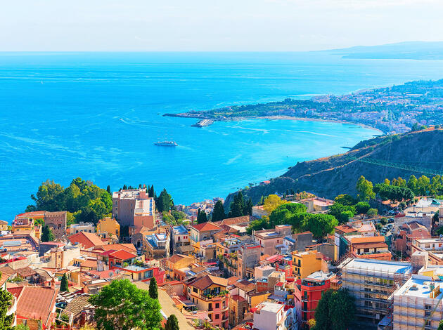 Cityscape of Taormina and Mediterranean Sea Sicily