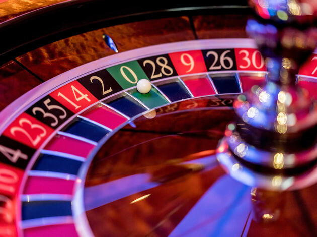 Close-up on a roulette at the casino